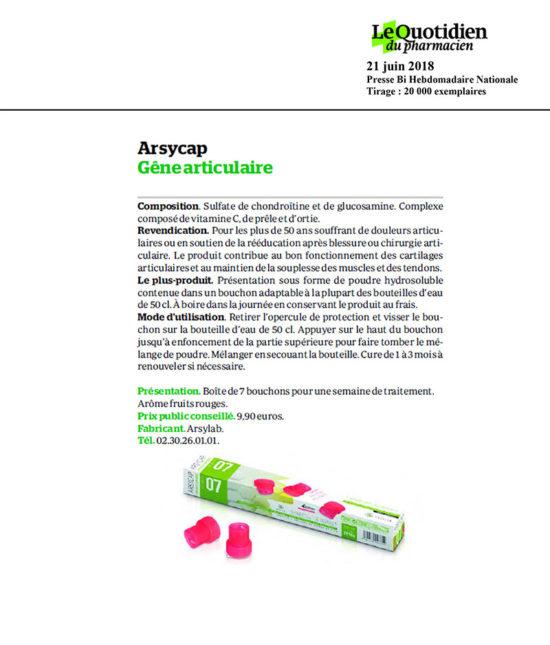 le quotidien du pharmacien article arsycap