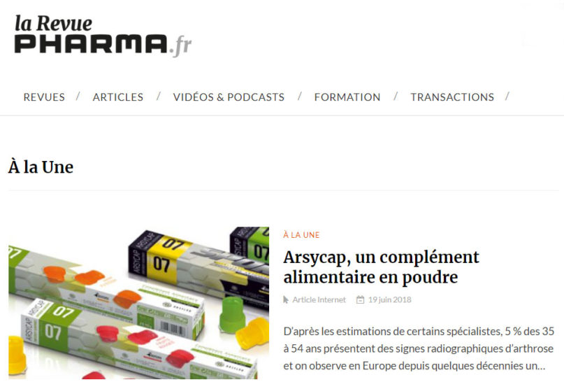 article revue pharma arsycap